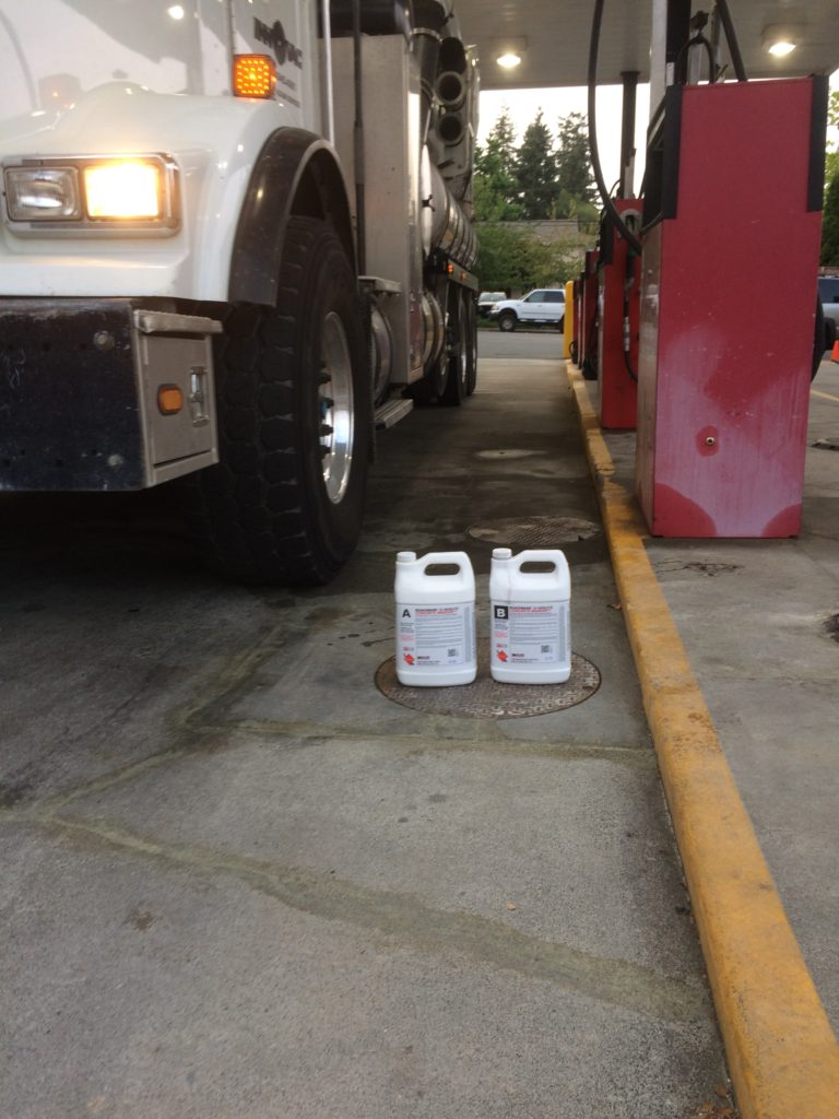 Finished Concrete Mender repairs at a truck fuel station.